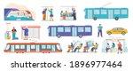 public transport flat set with... | Shutterstock .eps vector #1896977464