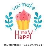valentine day sticker with pink ... | Shutterstock .eps vector #1896979891