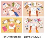 hands with postcards and...   Shutterstock .eps vector #1896992227