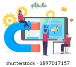 meeting conference in office.... | Shutterstock .eps vector #1897017157