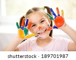 portrait of a cute cheerful... | Shutterstock . vector #189701987