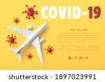 white airplane top view mockup... | Shutterstock .eps vector #1897023991