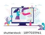 popular woman blogger use... | Shutterstock .eps vector #1897035961