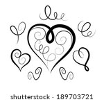 Vector Sketch Of Hearts And...