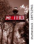 red paris metro subway in france