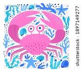Cute Sea Crab Hand Drawn Vector ...