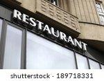 restaurant signboard on a...   Shutterstock . vector #189718331