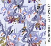 seamless pattern with jungle... | Shutterstock .eps vector #1897195357
