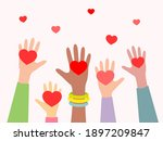 hands with hearts. concept of... | Shutterstock .eps vector #1897209847