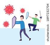 cartoon men protecting...   Shutterstock .eps vector #1897232704