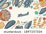 sea mussels. poster or banner... | Shutterstock .eps vector #1897257334