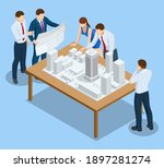 isometric construction project... | Shutterstock .eps vector #1897281274
