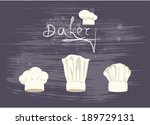 set cooks caps. beanie chief... | Shutterstock .eps vector #189729131