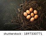 Organic Chicken Eggs In  Nest...