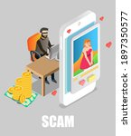 online dating scam. girl...   Shutterstock .eps vector #1897350577