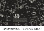 hand drawn coffee equipment... | Shutterstock .eps vector #1897374364