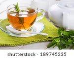 Cup Of Fresh Herbal Tea On...