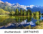 snowy mountains and evergreen... | Shutterstock . vector #189746945