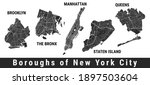 new york city boroughs map set. ...   Shutterstock .eps vector #1897503604
