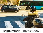 Motorcyclist Driving Motorbike...