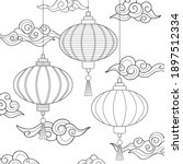line drawn asian lanterns with... | Shutterstock .eps vector #1897512334