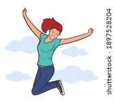happy young people jump ... | Shutterstock .eps vector #1897528204