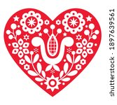 valentine's day folk art vector ... | Shutterstock .eps vector #1897639561