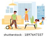 children helping parents....   Shutterstock .eps vector #1897647337