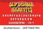 cool graffiti font and alphabet ... | Shutterstock .eps vector #1897686784