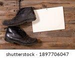 old black leather men's shoes...   Shutterstock . vector #1897706047