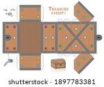 treasure chest box paper model. ... | Shutterstock .eps vector #1897783381