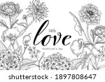 hand drawn floral valentine's... | Shutterstock .eps vector #1897808647
