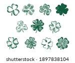 clover set. patrick's day. hand ...   Shutterstock .eps vector #1897838104