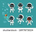 modern flat white robot mascot... | Shutterstock .eps vector #1897873024