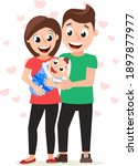 parents dad and mom hold the... | Shutterstock .eps vector #1897877977