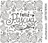 spanish happy easter text...   Shutterstock .eps vector #1897878904