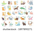 colorful zoo alphabet with cute ... | Shutterstock .eps vector #1897890271