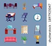 bundle of nine office set icons ...