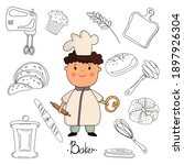 child chef baker and baking... | Shutterstock .eps vector #1897926304