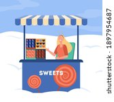 woman selling sweets from stall.... | Shutterstock .eps vector #1897954687