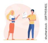 student giving test to teacher. ... | Shutterstock .eps vector #1897955401