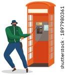 vandal damaging the telephone... | Shutterstock .eps vector #1897980361