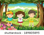 illustration of the three kids... | Shutterstock . vector #189805895