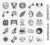 doodle sport icons   Shutterstock .eps vector #189805919