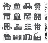 buildings and houses icons on... | Shutterstock . vector #1898146111