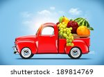 Pickup Truck Loaded By Fruits.