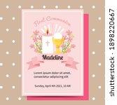 cute pink first communion... | Shutterstock .eps vector #1898220667