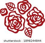 flower roses leaves vector set. ... | Shutterstock .eps vector #1898244844