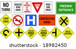 traffic  freeway  highway signs ... | Shutterstock . vector #18982450
