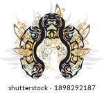 decorative lion heads frame... | Shutterstock .eps vector #1898292187